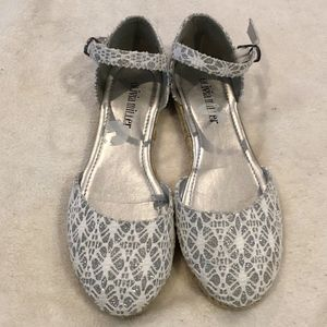 Olivia Miller lace silver espadrille flats